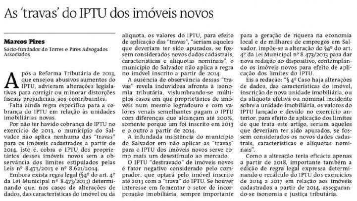 Artigo publicado no jornal A Tarde em 11/04/2018.