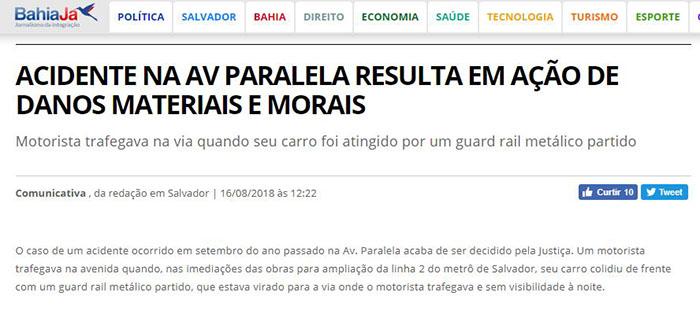 Matéria publicada pelo Bahia Já